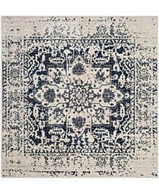 Madison Cream and Navy 5' x 5' Square Area Rug