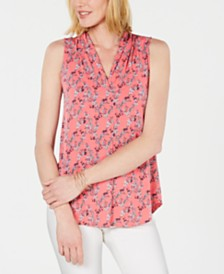 Charter Club Vine Pleated-Neck Top, Created for Macy's