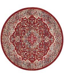 Safavieh Merlot Red and Aqua 6' x 6' Round Area Rug