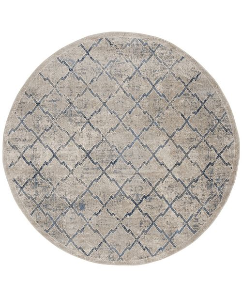 """Safavieh Brentwood Light Gray and Blue 6'7"""" x 6'7"""" Round Area Rug"""