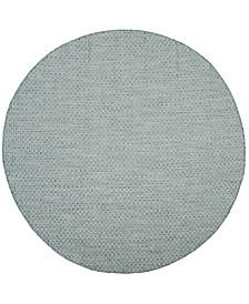 "Safavieh Courtyard Light Blue and Light Gray 5'3"" x 5'3"" Sisal Weave Round Area Rug"