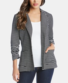 Karen Kane Striped Shirred-Sleeve Jacket