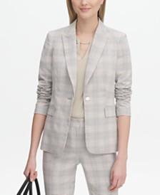 Calvin Klein Plaid Single-Button Blazer
