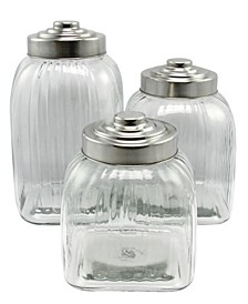 Cottage Chic 3 Piece Canister Set with Stainless Steel Lid