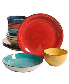 Color Speckle 12 Piece Mix and Match Double Bowl Dinnerware Set
