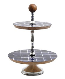 2-Tiers Enameled Cake Stand with Wood Base and Knob