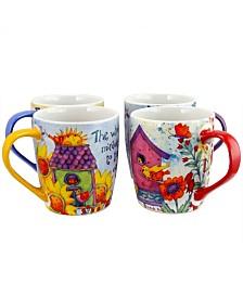 Birdhouse Floral 18 Ounce Mug