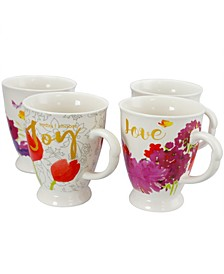 Bold Floral 17.4 Ounce Mug - Set of 4