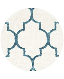 "Shag Kids Ivory and Blue 6'7"" x 6'7"" Round Area Rug"