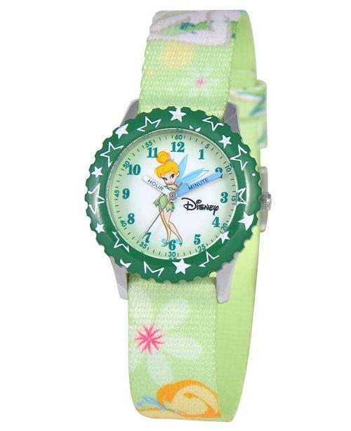6e6c76ae0 ... Disney Watch, Kid's Tinker Bell Time Teacher Printed Nylon Strap 31mm  W000069 ...