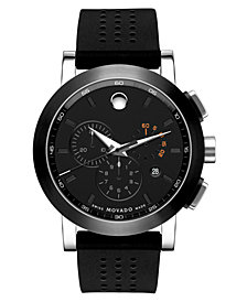Movado Men's Swiss Museum Sport Chronograph Black Perforated Rubber Strap Watch 44mm 0606545