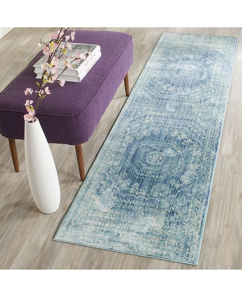 "Safavieh Valencia Blue and Multi 2'2"" x 12' Runner Area Rug"