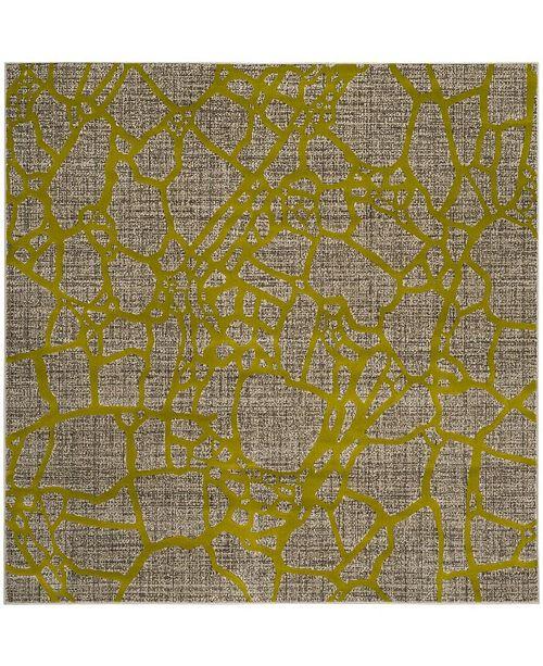 "Safavieh Porcello Light Gray and Green 6'7"" x 6'7"" Square Area Rug"