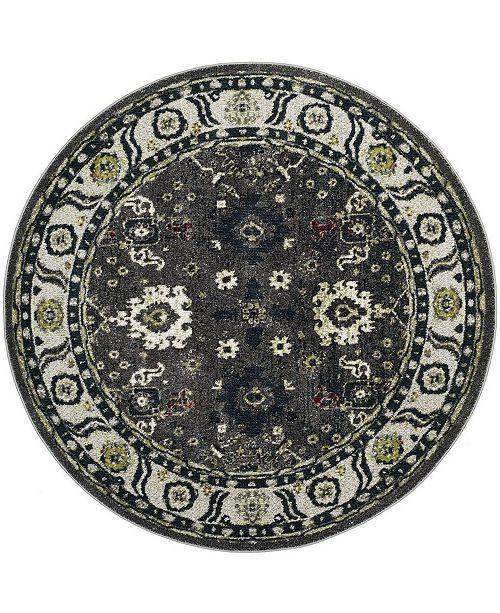 """Safavieh Vintage Hamadan Dark Gray and Ivory 6'7"""" x 6'7"""" Round Area Rug"""