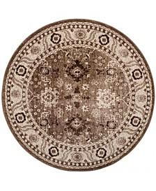 """Vintage Hamadan Taupe 5'3"""" x 5'3"""" Round Area Rug"""