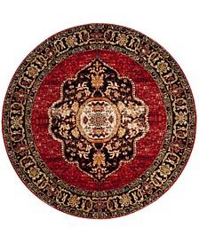 "Vintage Hamadan Red and Multi 5'3"" x 5'3"" Round Area Rug"