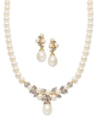 14k Gold Jewelry Set Cultured Freshwater Pearl and Diamond Necklace