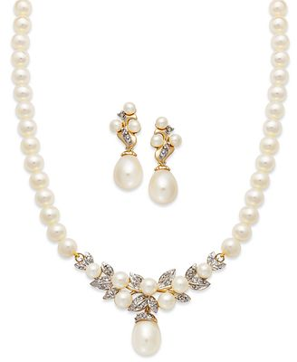 14k Gold Jewelry Set Cultured Freshwater Pearl and Diamond
