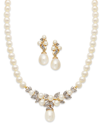14k Gold Jewelry Set, Cultured Freshwater Pearl and Diamond Necklace and Earrings Collection