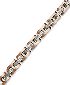 Men's Diamond Bracelet in Stainless Steel and Rose Ion-Plated Sterling Silver (1/2 ct. t.w.)