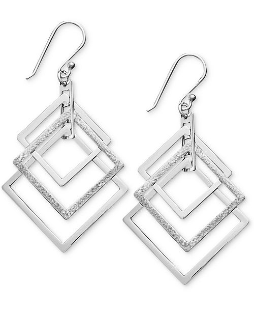 Unwritten Sterling Silver Earrings, Triple Square Drop Earrings