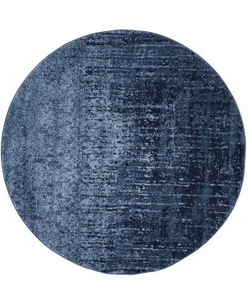 Safavieh Retro Light Blue and Blue 6' x 6' Round Area Rug
