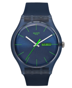 Swatch Watch, Unisex Swiss Blue Rebel Blue Silicone Strap 41mm SUON700