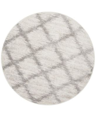 Adirondack Ivory and Silver 6' x 6' Round Area Rug