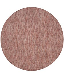 """Courtyard Red 6'7"""" x 6'7"""" Round Area Rug"""