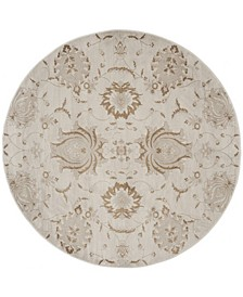 """Vintage Cream and Camel 6'7"""" x 6'7"""" Round Area Rug"""