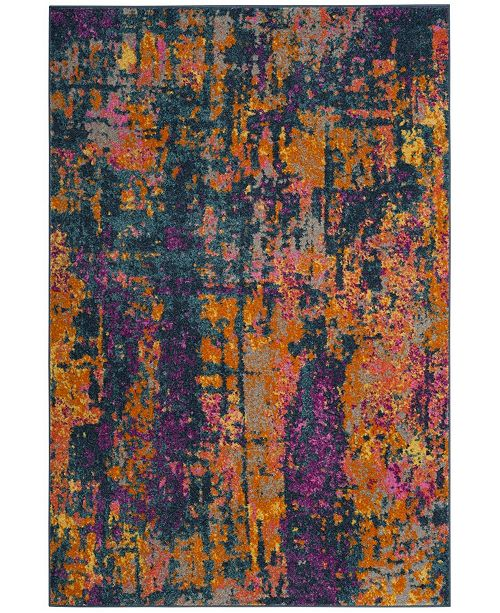 "Safavieh Madison Blue and Orange 5'1"" x 7'6"" Area Rug"
