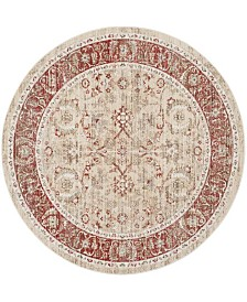 Safavieh Windsor Ivory and Red 6' x 6' Round Area Rug