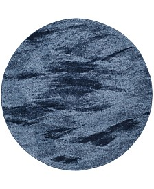 Safavieh Retro Light Blue and Blue 6' x 6' Round Area Rug