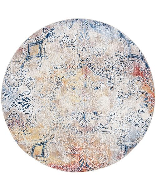 Safavieh Monray Red and Multi 7' x 7' Round Area Rug