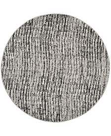 Adirondack Black and Silver 6' x 6' Round Area Rug
