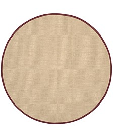 Natural Fiber Maize and Burgundy 6' x 6' Sisal Weave Round Area Rug