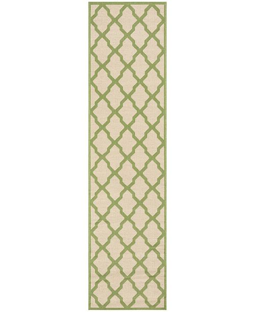 Safavieh Linden Cream and Olive 2' x 8' Runner Area Rug