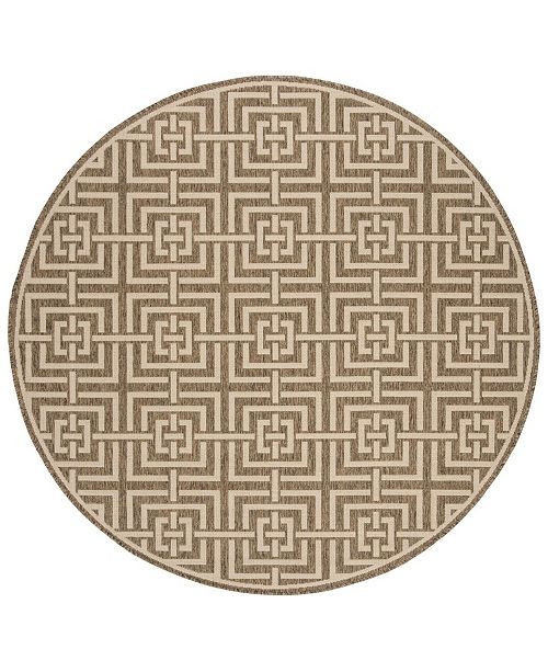 "Safavieh Linden Beige and Cream 6'7"" x 6'7"" Round Area Rug"