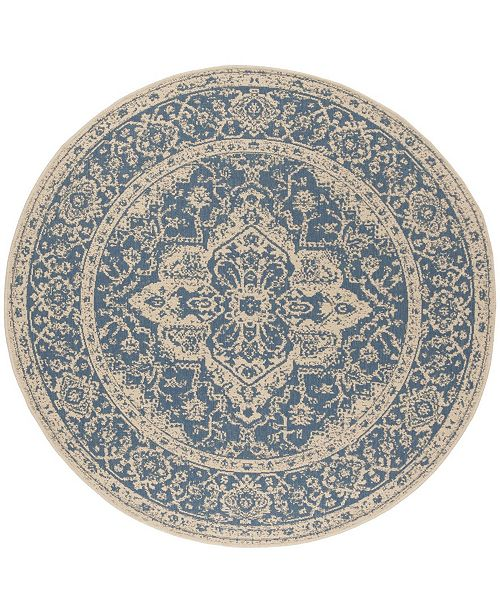 "Safavieh Linden Blue and Creme 6'7"" x 6'7"" Round Area Rug"