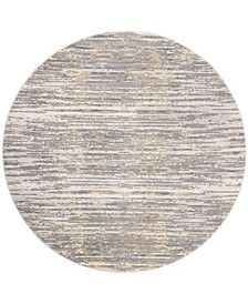 "Meadow Gray and Gold 6'7"" x 6'7"" Round Area Rug"