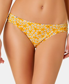 California Waves Juniors' Mello Yellow Daisy Printed Side-Shirred Hipster  Bottoms, Created for Macy's