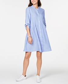 Tommy Hilfiger Linen Roll-Tab Shirtdress, Created for Macy's