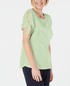 Karen Scott Tie-Sleeve Top, Created for Macy's