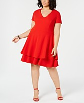 001afcdd1e B Darlin Trendy Plus Size Bow-Back Fit   Flare Dress