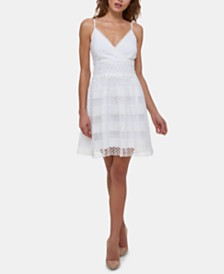 GUESS Lace Fit & Flare Dress