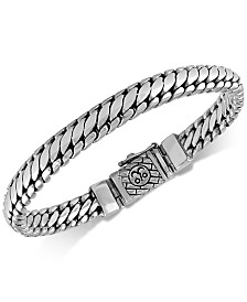 Esquire Men's Jewelry Heavy Serpentine Link Bracelet in Sterling Silver, Created for Macy's