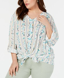 Style & Co Plus Size Printed Tie-Hem Blouse, Created for Macy's