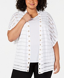 Plus Size Shadow-Striped Grommet Trim Cardigan