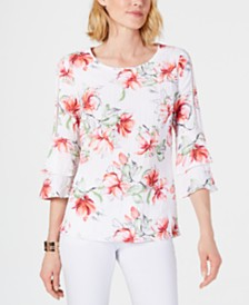 JM Collection Printed Crinkle Texture Top, Created for Macy's