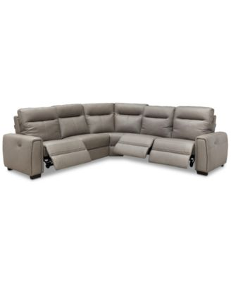 """Cheadle 5-Pc. Leather """"L"""" Sectional Sofa with 3 Power Recliners, Created for Macy's"""